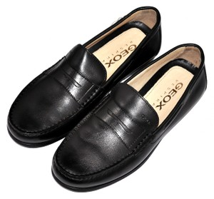 Geox Moccasins Loafers Genuine Leather Black Formal