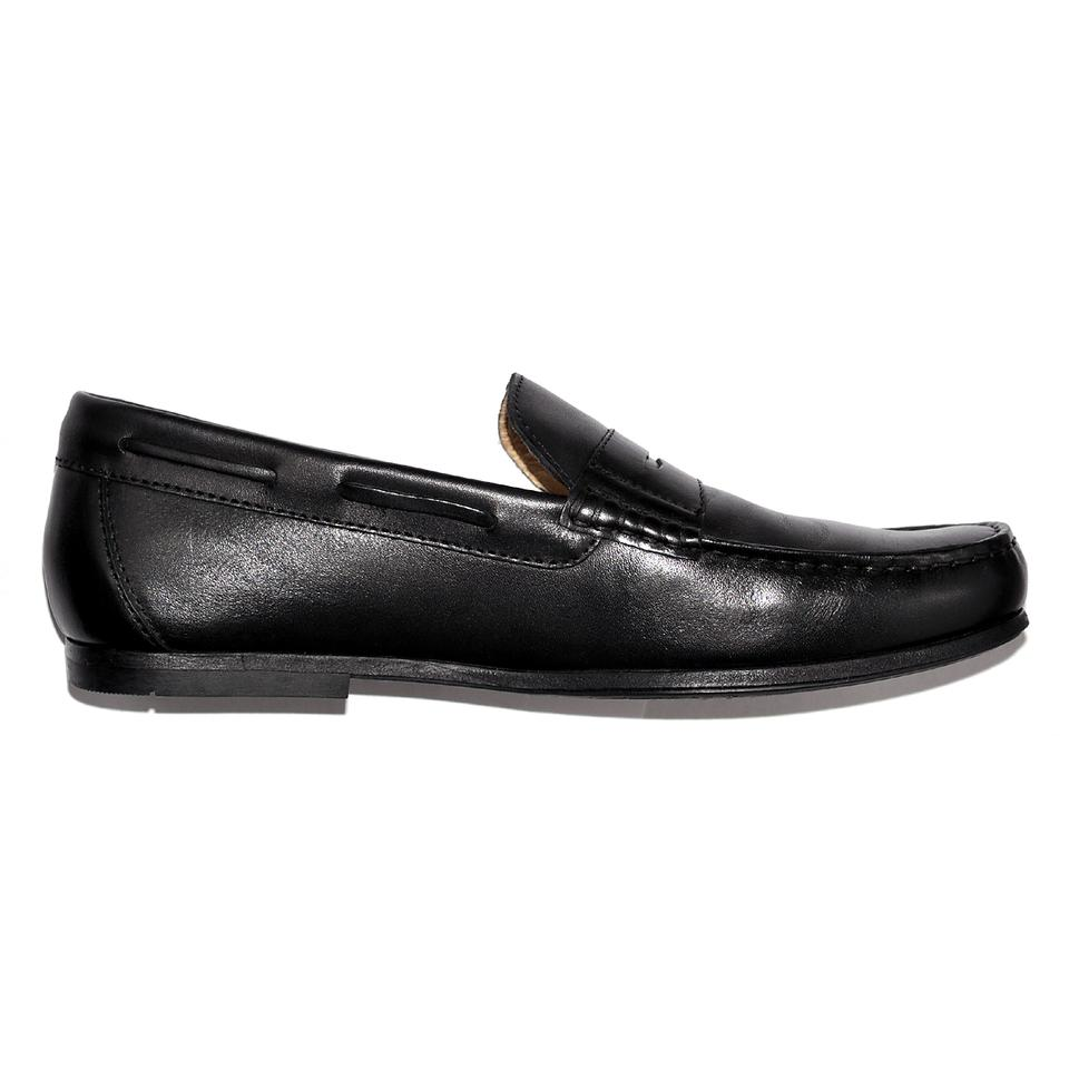 Geox Black Genuine Leather Respira Mens Moccasins Loafers Formal Shoes Size US 7 Regular (M, B) 45% off retail