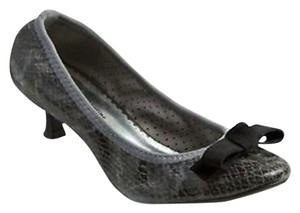 Lindsay Phillips Grey Gray Snakeskin Kitten Heel Interchangeable Snap Bow Black Non Slip Sole Non Skid Low Heel Isabel Ballet Grey Snake Pumps