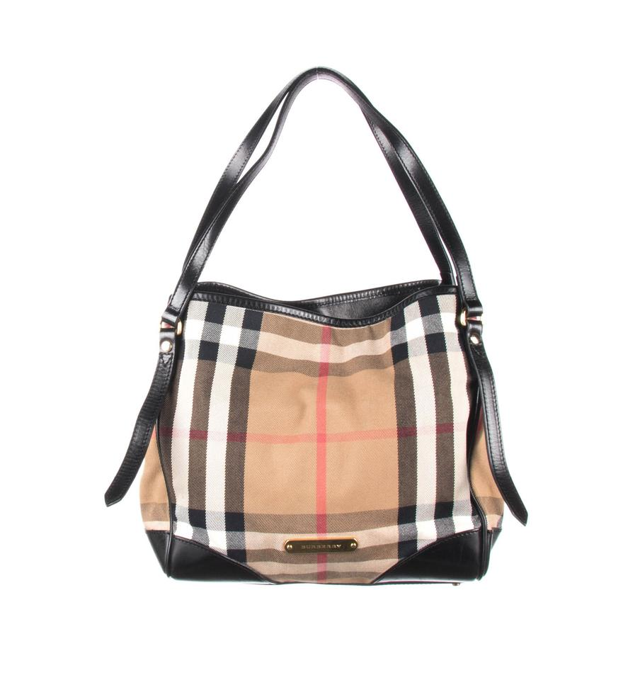 a431b5caca29 Burberry Bridle House Check Small Canterbury Black Leather Tote ...