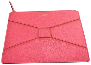 Kate Spade Zip Top Pebbled Leather Pink Large Pouch coral Clutch