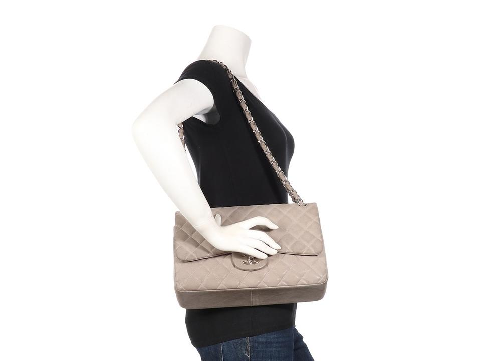 92251f95f765a Chanel Jumbo Classic Double Flap Gray Sueded Leather Shoulder Bag ...