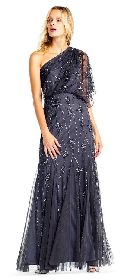 Adrianna Papell Gunmetal Beaded One Shoulder Blouson Gown Long
