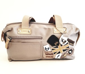 Byblos Canvas Leather Satchel in Taupe and Tan