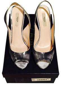 Prada Distressed Gray Leather Pumps