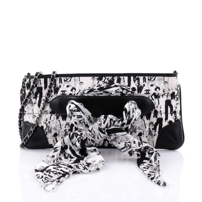 Item - Limited Edition Scarf Pochette Printed Leather Black and White Silk Clutch