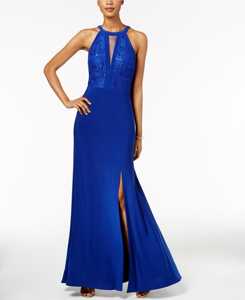 Night Way Collections Navy Lace A-line Gown Long Formal
