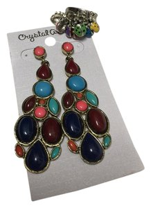 Multicolor Earring And Ladybug Ring