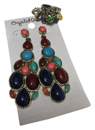 Other Multicolor Earring And Ladybug Ring