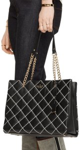 Kate Spade Large Phoebe Emerson Lane Quilted Leather Pxru5576 Black/Cement Shoulder Bag