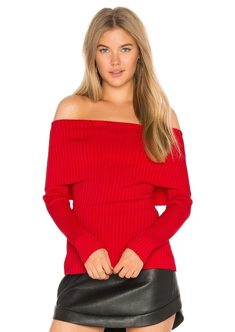 Item - Risa Ribbed Off-the-shoulder Red Berry Sweater