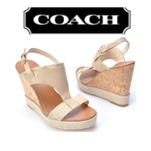 Coach beige and tan Wedges