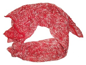 Unknown Red & Ivory Paisley Print Sheer Lightweight Scarf