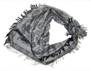 Unknown Olive Green, Black, Ivory Floral Paisley Square Scarf