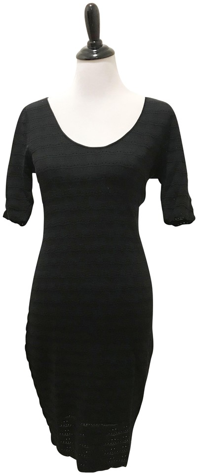 Saks Fifth Avenue Black Wool Mid-length Cocktail Dress Size 8 (M ...