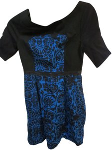 Tracy Reese short dress Blue and black Shift Floral on Tradesy