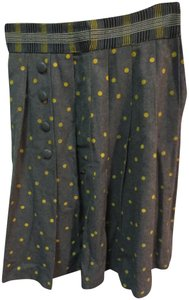 Tracy Reese Anthropologie Polka Kilt Pleated Skirt grey with yellow dots