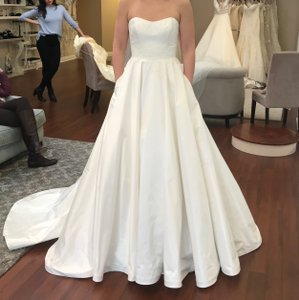 Romona Keveza Natural White Silk Gown with Ivory Accented Lace L7130fl Traditional Wedding Dress Size 6 (S)