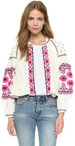 Free People Embroidered Festival Floral Ivory Jacket