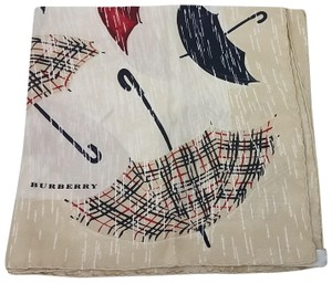 Burberry Tan, red multicolor Burberry plaid umbrella print silk scarf