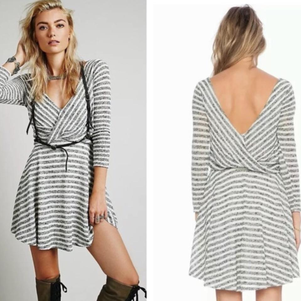 ddce04686c0 Free People Black White And Striped Deep V Maverick Short Casual Dress Size  10 (M) - Tradesy