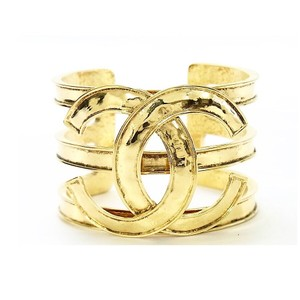 Chanel Vintage Gold Plated CC Cuff Bracelet