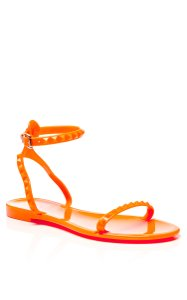 Valentino Jelly Gold Hardware Studded Rockstud Ankle Strap Orange Sandals