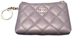 0461319e85f2df Chanel Chanel Purple Lambskin Quilted Zip Coin Purse With Key Ring (Wallet)