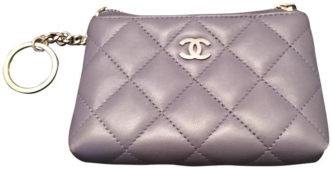 Item - Purple Lambskin Quilted Zip Coin Purse with Key Ring Wallet