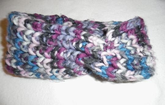 Unknown Pink Blue Gray Knitted Crochet Twisted Turban Head Wrap