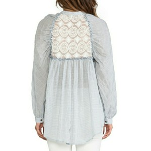 Free People Button Down Shirt Blue/White