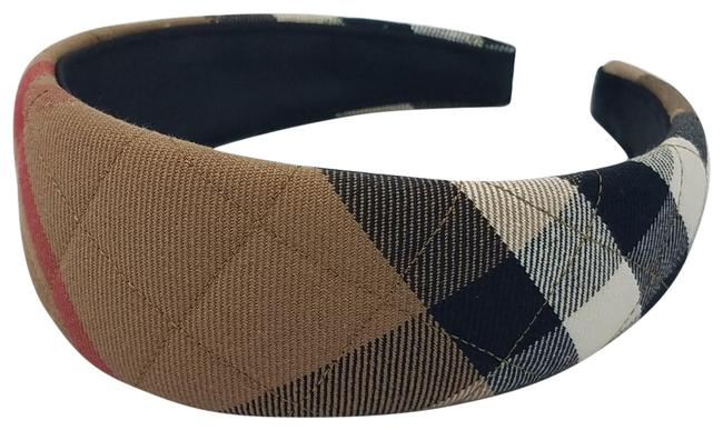 Item - Beige Black Red Quilted Nova Check Headband Hair Accessory