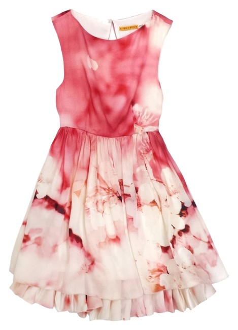 Item - Pink Catherine Cherry Blossom Print Silk A-line Mid-length Short Casual Dress Size 2 (XS)
