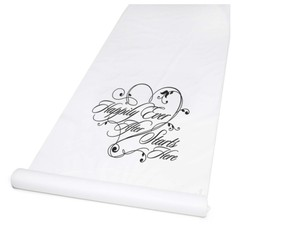 Hortense B. Hewitt Black/White Happily Ever After Unique Aisle Runner