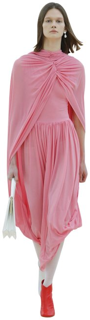 Item - Pink Jersey Crepe Ruche Mid-length Cocktail Dress Size 4 (S)