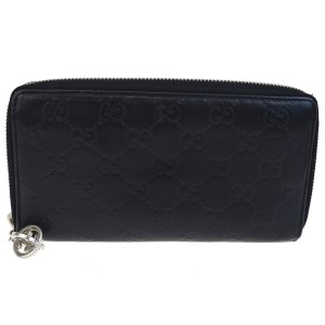 7d3972d0a5376f Gucci Black Gg Pattern Zipper Long Bifold Leather Italy Wallet - Tradesy
