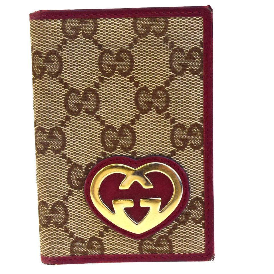 Gucci Brown Logos Gg Pattern Heart Bifold Card Case Leather Canvas ...