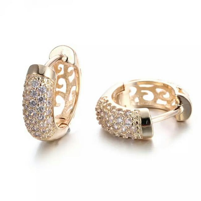 Item - Gold White 18k Filled Brincos De Noiva Hoops Earrings