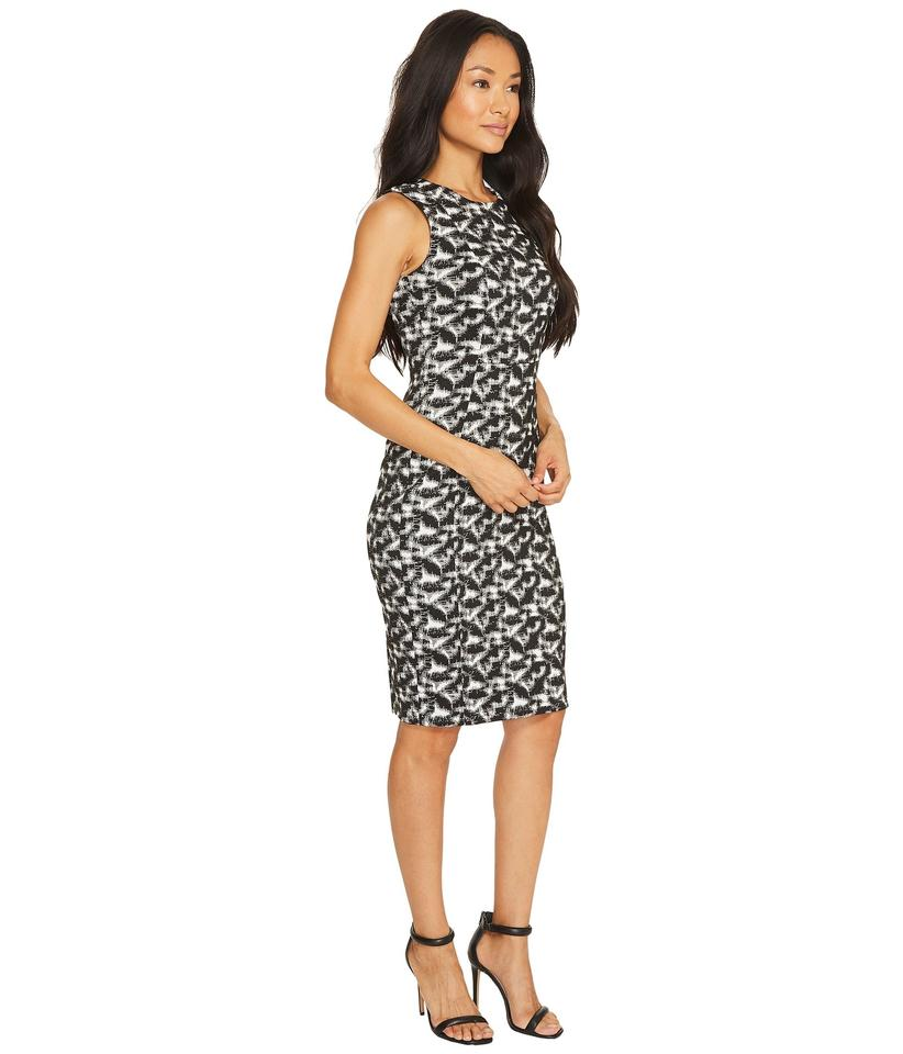 558e421a3e Calvin Klein Black White Sleeveless Jacquard Sheath Mid-length Work ...