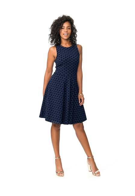 Item - Navy Cameo Ava Luxe Jacquard Sleeveless Curve Fit and Flare Mid-length Short Casual Dress Size 18 (XL, Plus 0x)