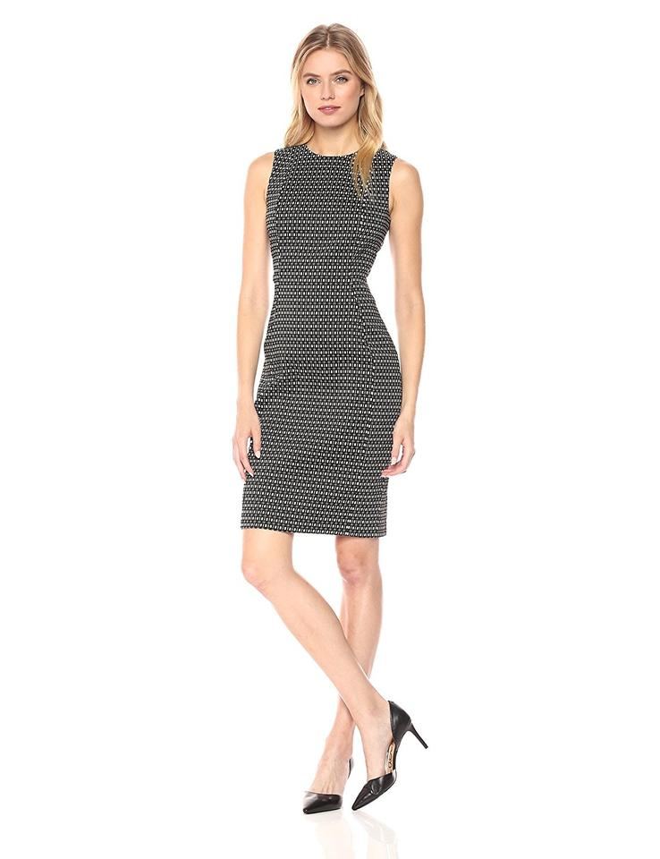d1a8ff74b7 Calvin Klein Black White Sleeveless Geometric Print Jacquard Sheath Work Office  Dress