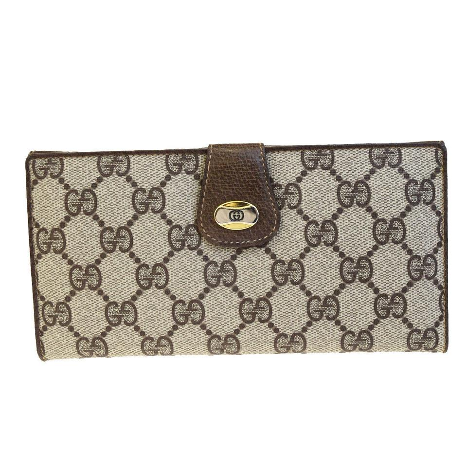 20def99881f Gucci GUCCI GG Pattern Long Bifold Wallet Purse PVC Leather Brown Italy  Image 0 ...