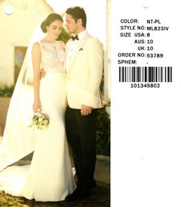 Martina Liana Ivory/Natural/Porcelain Bellagio Crepe 823 Modern Wedding Dress Size 6 (S)