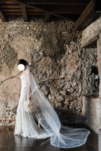 Peter Langner White Long Terry Bridal Veil