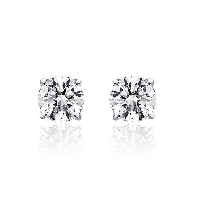Item - 14k White Gold 0.45 Ct Round Brilliant Cut Diamond G/Si1 Stud Earrings