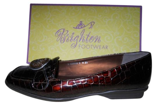 Brighton Leather Croc Bronze Flats
