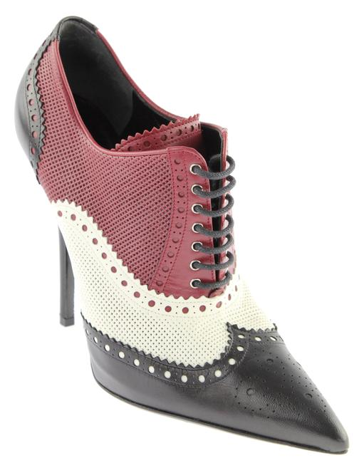 Item - Black White & Burgundy Perforated Brogue Ankle Boots/Booties Size EU 38.5 (Approx. US 8.5) Regular (M, B)