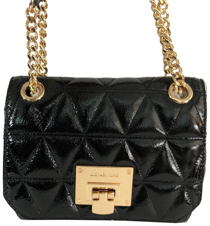 MICHAEL Michael Kors Vivianne Small Flap Shoulder Handbag Black Patent  Leather Cross Body Bag 0a1734ba49db