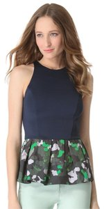 Camilla and Marc Peplum Casual Print Jersey Camoflauge Top Green, Navy, White