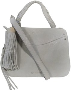 Elizabeth and James Leather Small Classic Trapeze Tassel Satchel in Light Grey